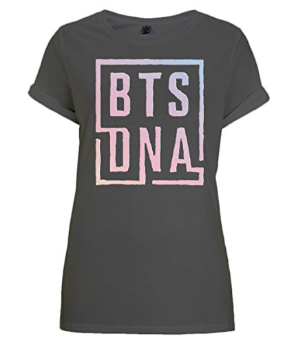 BTS Mic Drop and BTS DNA Design - Black T-Shirt With Rolled Sleeves For BTS Army (DNA, M) (T-shirt Top Wings Pink)