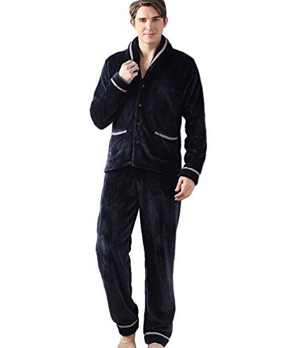 YOUJIA Herren Weich Warme 2 Stück Pyjama Set Flanell Loungewear Hausanzug Schlafanzüge Button-down Schlafanzugoberteile & Schlafanzughosen (Marine, XL) (Herren Flanell Schlaf-hose)