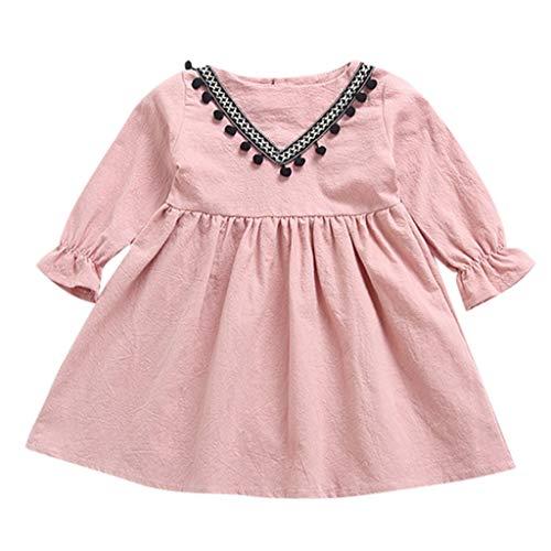 Mädchen Kinderkleidung Hffan Kleinkind Infant Baby Mädchen Outfits Set Britischen Stil Druck Kurzarm-Shirt Patchwork Gerüscht Quasten Party Prinzessin Kleider - Patchwork-quaste