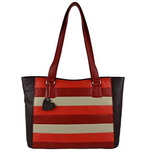 Mala Leather , Sac pour femme à porter à l'épaule Bleu Brun/multicolore grand Brun/multicolore