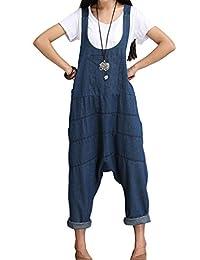 Juqilu Femme Salopette Bretelles Été Dames Jumpsuit Combinaisons Grande Taille Jeans Bodysuit Loose Casual Coton Large Ample Harem Sarouel Pantalon S-XL