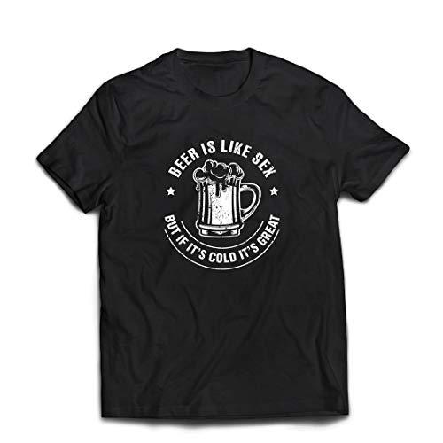 lepni.me Männer T-Shirt Bier ist wie Sex, Aber wenn es kalt ist, ist es toll, Humorvolles Geschenk (XXX-Large Schwarz Mehrfarben)
