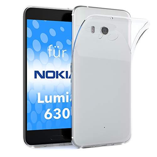 EAZY CASE Hülle für Nokia Lumia 630 Dual SIM Schutzhülle Silikon, Ultra dünn, Slimcover, Handyhülle, Silikonhülle, Backcover, Durchsichtig, Klar, Transparent