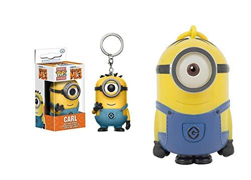 u FunKo Pop Schlüsselanhänger Minions 3 Carl Action Figur + Stuart Taschenlampe ()