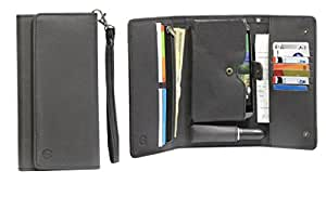 J Cover A13 Nillofer Leather Wallet Universal Phone Pouch Cover Case For Sony Xperia S Black