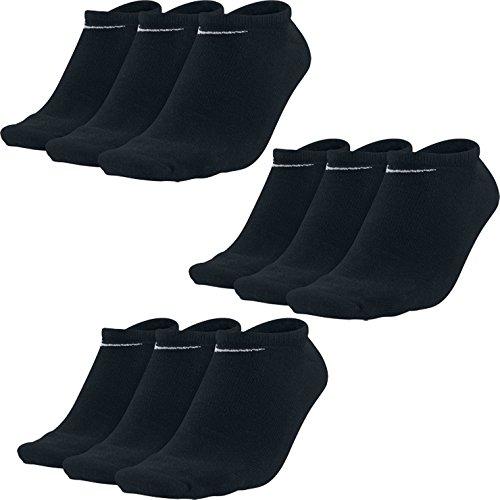 9 Paar NIKE Sneaker Socken schwarz weiß No Show (Füßlinge) (schwarz, 42-46 (L)) (No-show Nike Schwarz Socken)