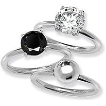 Plata de ley de color negro, blanco y anillo Stak liso talla M