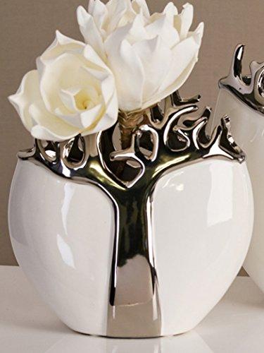 Designer Vase Tree aus Keramik weiß/silber mit silbernem Baumdesign Höhe 21 cm -
