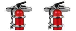 Feuerlöscher–Rhodium Teller Manschettenknöpfe. Ein tolles Paar Manschettenknöpfe oder Krawatten Clip als im Bild gezeigt, die perfekte Geschenk für einige One spezielle.