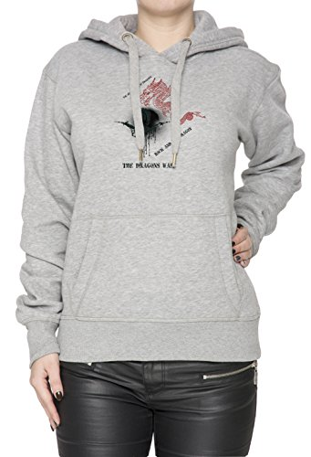 The Dragons War Donna Grigio Felpa Felpa Con Cappuccio Pullover Grey Women's Sweatshirt Pullover Hoodie