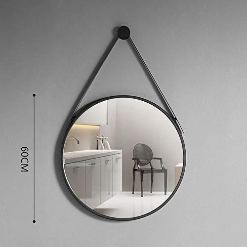Espejo de tocador con Borde Negro, Espejo para Colgar en la Pared, Espejo Redondo para baño con cordón...