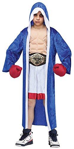Boxer Kostüm für Jungen Muskelshirt Shorts Umhang Handschuhe Champion Gürtel Sportler, Größe:110 - 4 bis 6 Jahre (Weißen Jungen Boxer)