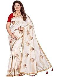 Maliqua Women's Art Silk Embroidered Saree With Blouse Piece