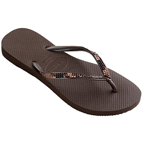 Havaianas Woman Slim Metal Sandal Dark Brown Brown