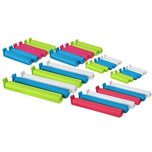 com-four® 36 Verschlussclips aus Kunststoff, Verschlussklammern in verschiedenen Größen und Farben (36 Stück - bunt)