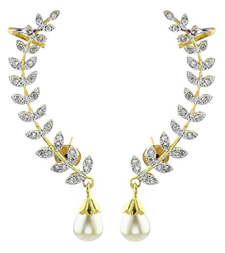 Aabhu Gold Plated American Diamond Leaf Shape Ear Cuffs Earrings Jewllery For Women And Girls  available at amazon for Rs.259