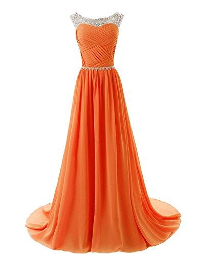 KekeHouse® Longue Robe De Bal En Mousseline Robe De Soirée Sans Manche Robe Longue En Mousseline Avec Perlage Orange