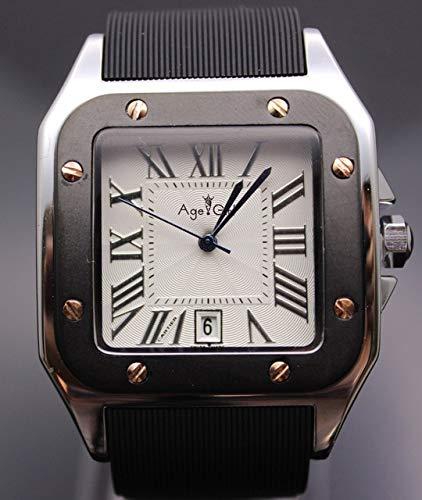 WAVFCSE Herren New Gent Santos 100 XL Edelstahl Rose Gold Sport Limited Edition Gummi Schwarz Silber Weiß Quarz Armbanduhren Bronze -