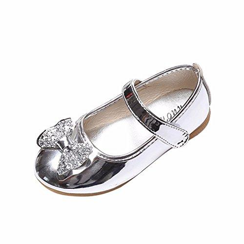 EUCoo_shoes Mädchen Kinder Tanzschuhe Campus Performance Schuhe Bogen flüssiges Metall rosa Prinzessin Schuhe Sandalen (1-6 Jahre alt)(Silber, 29) -