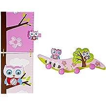 Rosa Metri da Parete Righello di Altezza Grafico di Crescita dei bambini a tema gufi e appendiabiti da parete per la stanza delle bambine o la camera da letto