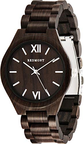 REDMONT Herrenuhr mit Holzarmband Analog Quarz Classic Collection Black Edition