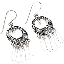 Emprell Oxidised 925 Sterling Silver Plain Wire Work Round Hole Earrings