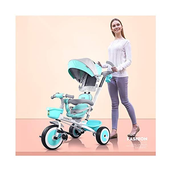 GSDZSY - 3 IN 1 Children Tricycle With Rainproof UV Protection Awning And Detachable Push Rod, Rotating Seat And Fully Enclosed Rubber Wheel, 1-5 Years Old GSDZSY ❀ MATERIAL : High carbon steel + ABS + rubber wheel, suitable for children from 1 month to 6 years old, maximum load 30 kg ❀ FEATURES : The push rod can be adjusted in height, the seat can be rotated 360 ; the adjustable umbrella can be used for different weather conditions ❀ PERFORMANCE : high carbon steel frame, strong and strong bearing capacity; non-inflatable rubber wheel, suitable for all kinds of road conditions, good shock absorption, seat with breathable fabric, baby ride more comfortable 1