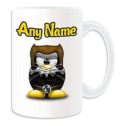 Cadeau personnalisé–Grand mug James Howlett (Pingouin Film Character Design Thème, blanc)–N'importe Quel Nom/Message sur votre Costume unique–Movie Superhero Héros Marvel Comics Avengers X-Men Wolverine