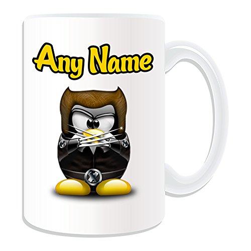 Personalisiertes Geschenk, großer James Howlett Tasse (Pinguin Film Charakter Design Thema, weiß)–Jeder Name/Nachricht auf Ihre Einzigartiges–Kostüm Film Superheld Hero Marvel Comics Avengers X-Men Logan (Howlett Kostüm)