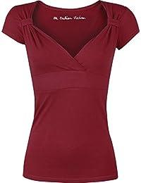 Fashion Victim Fashion V-Top T-shirt Femme bordeaux