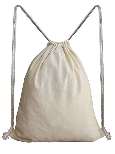 Aamoro Unisex Beige Plain Organic Unbleached Cotton Drawstring Backpack Image 2