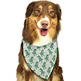 Sdltkhy Pet Bandana Funny Dinosaur Poster Green Washable and Adjustable Triangle Bibs for Pet Cats and Puppies
