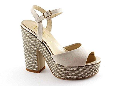 DIVINE FOLLIE 262-12 beige sandali donna tacco zeppa plateaux cinturino Beige
