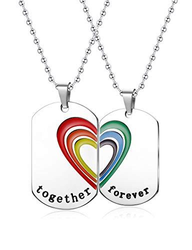 Finrezio Halskette aus Edelstahl Lieben Herz Regenbogen Puzzle Anhänger für Herren Damen Gay Lesbian Pride Kette LGBT (Halskette Pride Gay)