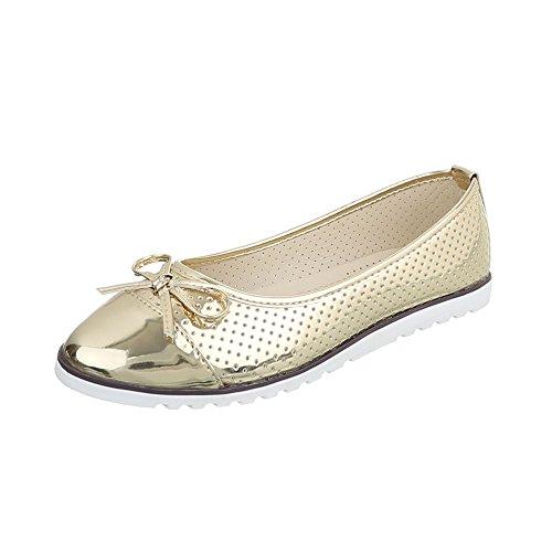 Ital-Design Klassische Ballerinas Damen-Schuhe Geschlossen Moderne Ballerinas Gold, Gr 40, 789-1- (Ballerinas Schuhe Gold)
