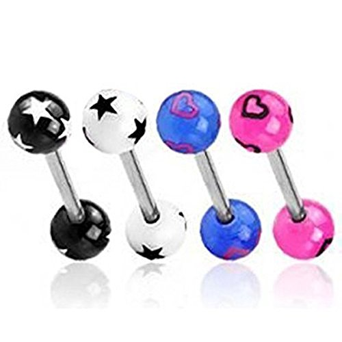 4 Stück Pack Sortierte Herzen und Sterne Muster Farbe Acryl Bälle Zunge Bar Piercing Dicke: 1.6mm Länge: 16mm Material: Chirurgische (Kostüm Ball Sterne 4)