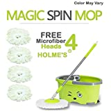 HOLME'S Easy Magic Bucket Spin Mop Double Drive Hand Pressure With 4 Microfiber Mop Head Color May Vary ( With Soap Dispenser)