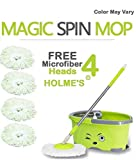 #6: HOLME'S Easy Magic Bucket Spin Mop Double Drive Hand Pressure With 4 Microfiber Mop Head Color May Vary ( With Soap Dispenser)