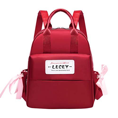 häNgetasche Damen Mode Tasche Große Kapazität Computer Tasche Student Rucksack Umhängetasche Rot One Size ()