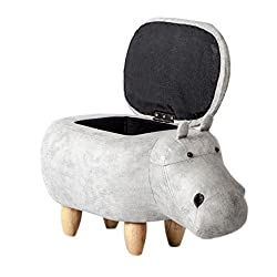Ottomane stauraum Fußhocker,Lederimitation Gepolstert Reiten-auf Hippo Tier-Funktion Fußstütze Sitz mit massivem Holz füße Eingang-Bank -grau