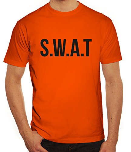 ShirtStreet Fasching Karneval Herren T-Shirt mit SWAT Kostüm 1 Motiv, Größe: L,Orange