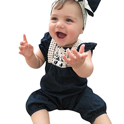 SHOBDW Girls Rompers, Baby Infant Pretty Floral Embroidery Denim Sleeveless Buttons Jumpsuit Summer Outfits Clothes Gifts (12-18 Months, Navy)
