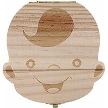 Sannysis Caja de almacenamiento de madera para Dientes de leche