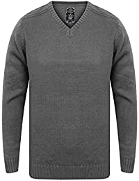 Kensignton Eastside Mens Designer Ikar Jumper Knitted Crew Neck Ribbed Pullover