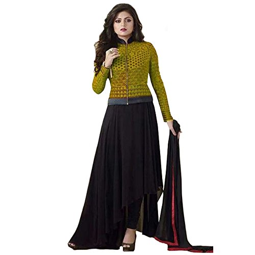 Bollywood Drashti Dhami Georgette and Net Party Wear Anarkali Suit In Lemon Yellow and Black Colour  available at amazon for Rs.1174