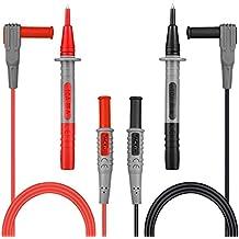 TACKLIFE-METL02-Cable de Prueba de Multimetro 100cm, 4 Pieces Electrónico Profesional Puntas de Prueba Kit de Accesorios de Multímetro Incluye Extensiones de Plomo Prueba Sondas Con 6 manguitos protectores