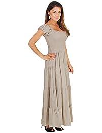 KRISP Damen Boho Maxi Kleid Einfarbig Bodenlang