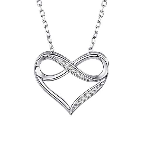 Halsketten für Frauen 925 Sterling Silber Charm Herz Kette Zirkonia Halskette Unendlichkeitszeichen Mädchen Geschenke Zum Muttertag by CAROLIER