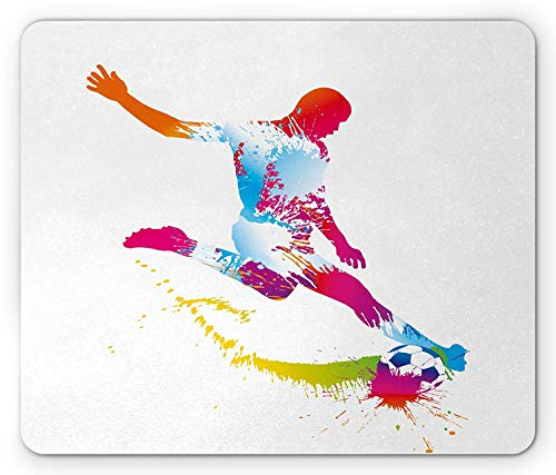 Sports Mouse Pad, Silhouette of Abstract Style Soccer Young Sportsman Kicks The Ball Goal Win Match, Standard Size Rectangle Non-Slip Rubber Mousepad, Multicolor Style-kick Pads