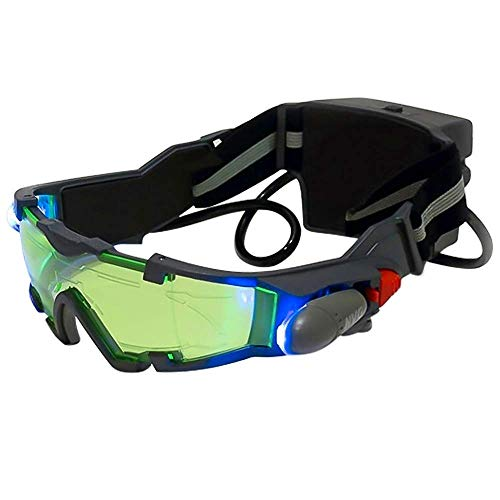 SHKY Spy Night Vision-Brille mit ausklappbaren blauen LED-Lichtern, einstellbare Kinder-LED-Nachtgläser mit grüner Linse für Jagdrennen, Skifahren, um die Augen zu schützen